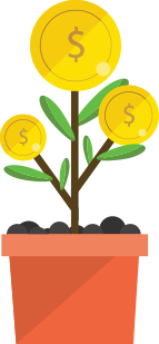 Plant with coins on it to represent fundraising