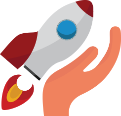 icon of a hand craddling a spaceship to represent engaging